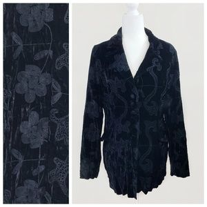 Jackets & Blazers - Alberto Makali Black Velvet Embroidered Jacket